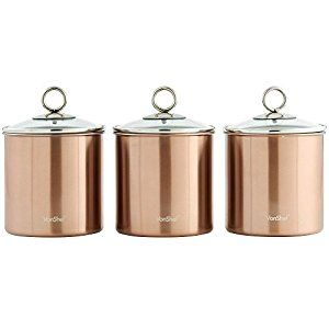 Vonshef Set Of 3 Copper Tea Coffee Sugar Canisters