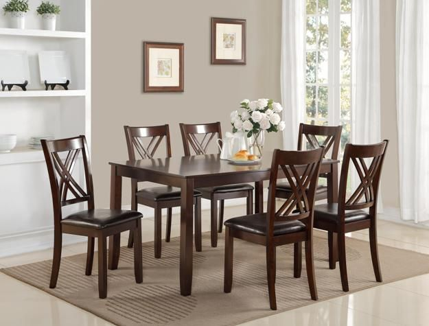 7 Pc Eloise Brown Wood Finish Dining Table Set With Double Cross