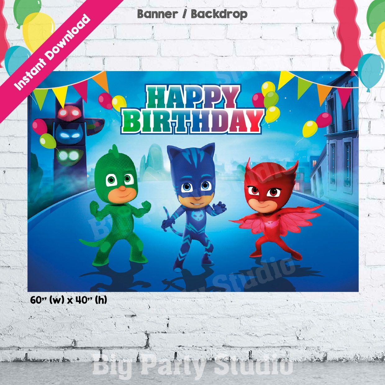 PJ Masks Banner, PJ Masks Happy Birthday Backdrop, Pj ...