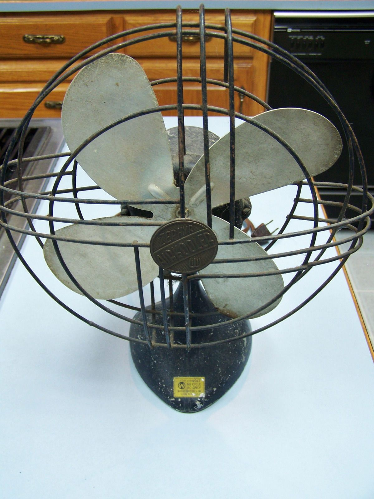 "Vintage Zephyr Airkooler Air Kooler 10"" Electric Fan Antique Wright"
