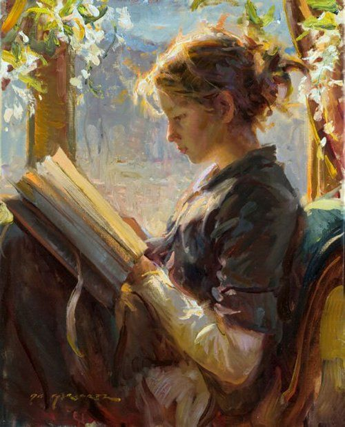 Image result for girl reading book painting