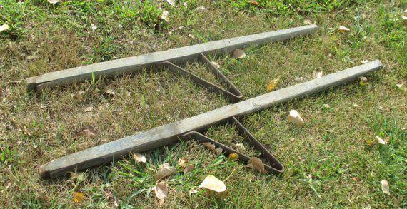 Wood Metal Wheelbarrow Handles Vintage Farm Country Rustic Steampunk Part Repair Products Wheelbarrow Handles Vintage Farm Country Farm