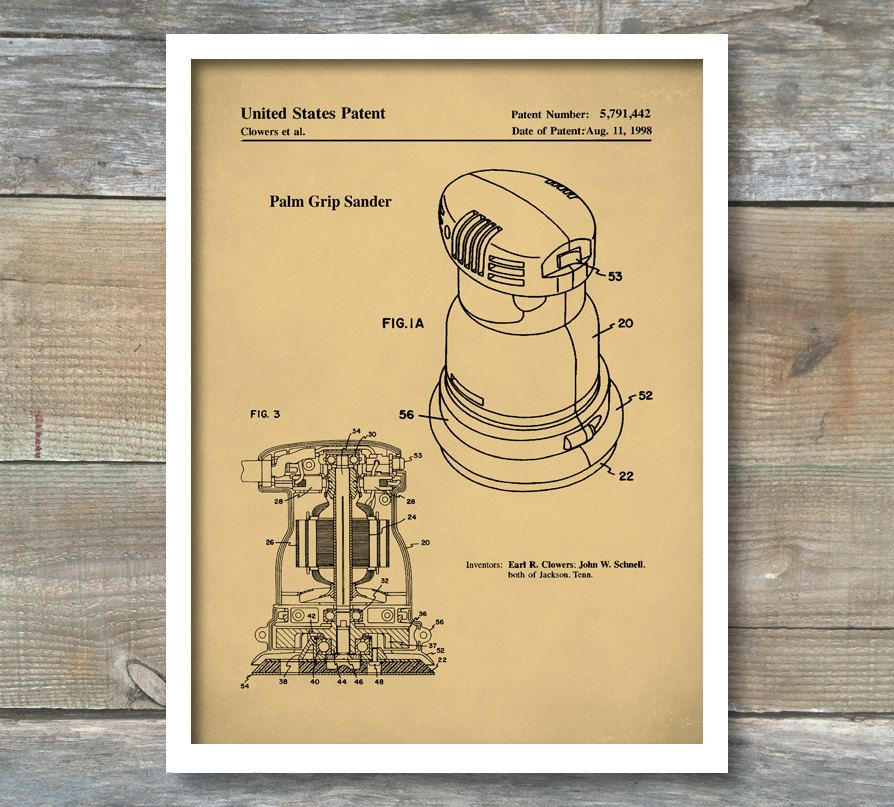 Patent Poster, Palm Grip Sander, Woodworking Tools, Wood