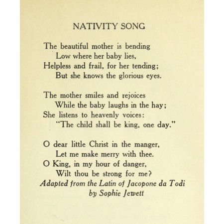 Nativity Song Christmas in Poetry 1922 Canvas Art - Sophie x-Jewett