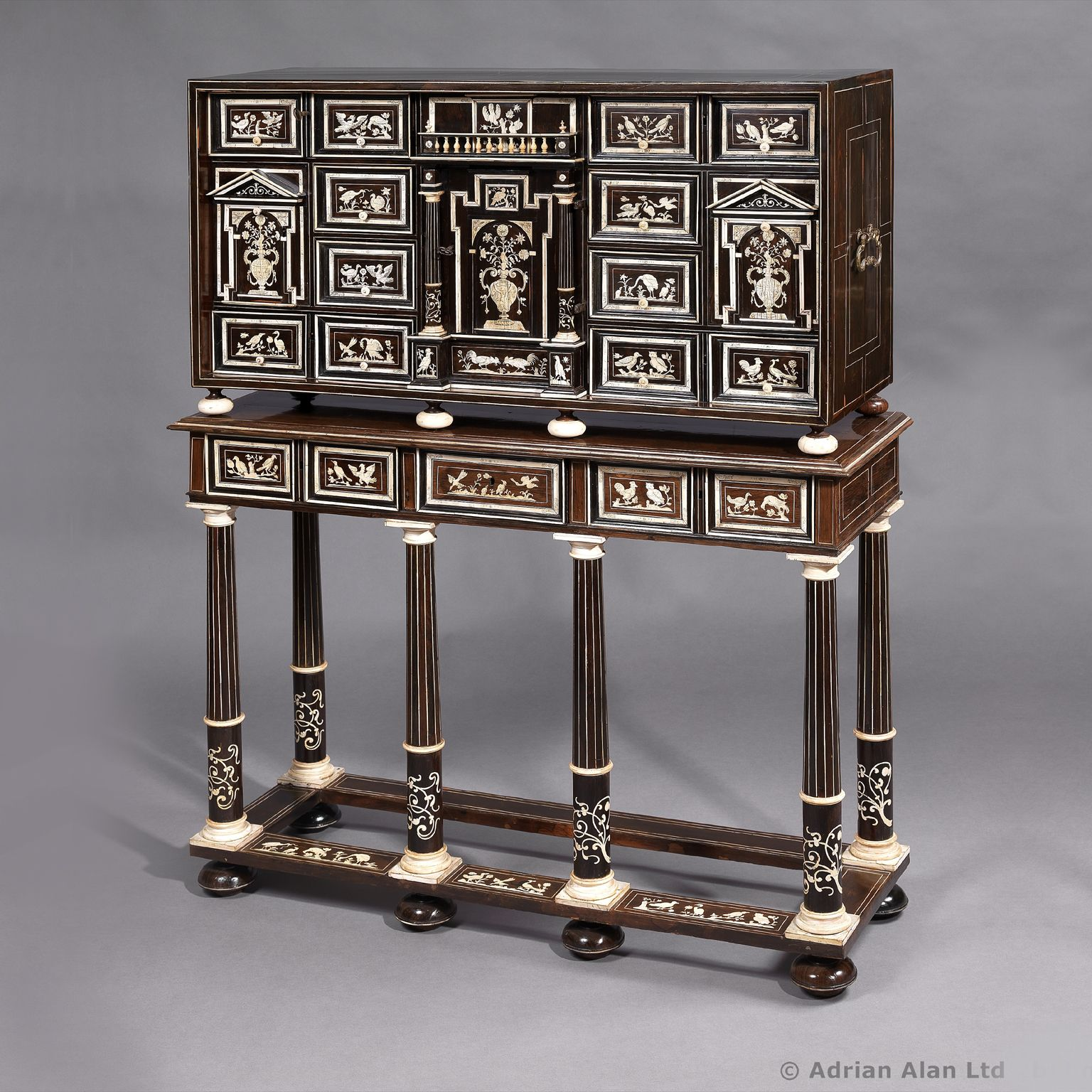 An Exceptional North Italian Rosewood And Ivory Inlaid Marquetry #Cabinet  On Stand   #adrianalan