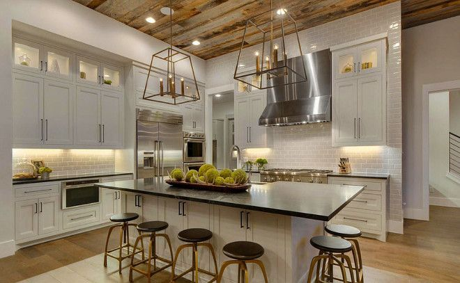 Modern Farmhouse Kitchens. So many stunning farmhouse kitchens full of traditional elements with a twist!  Get ready to be inspired! Via Geshke Interiors
