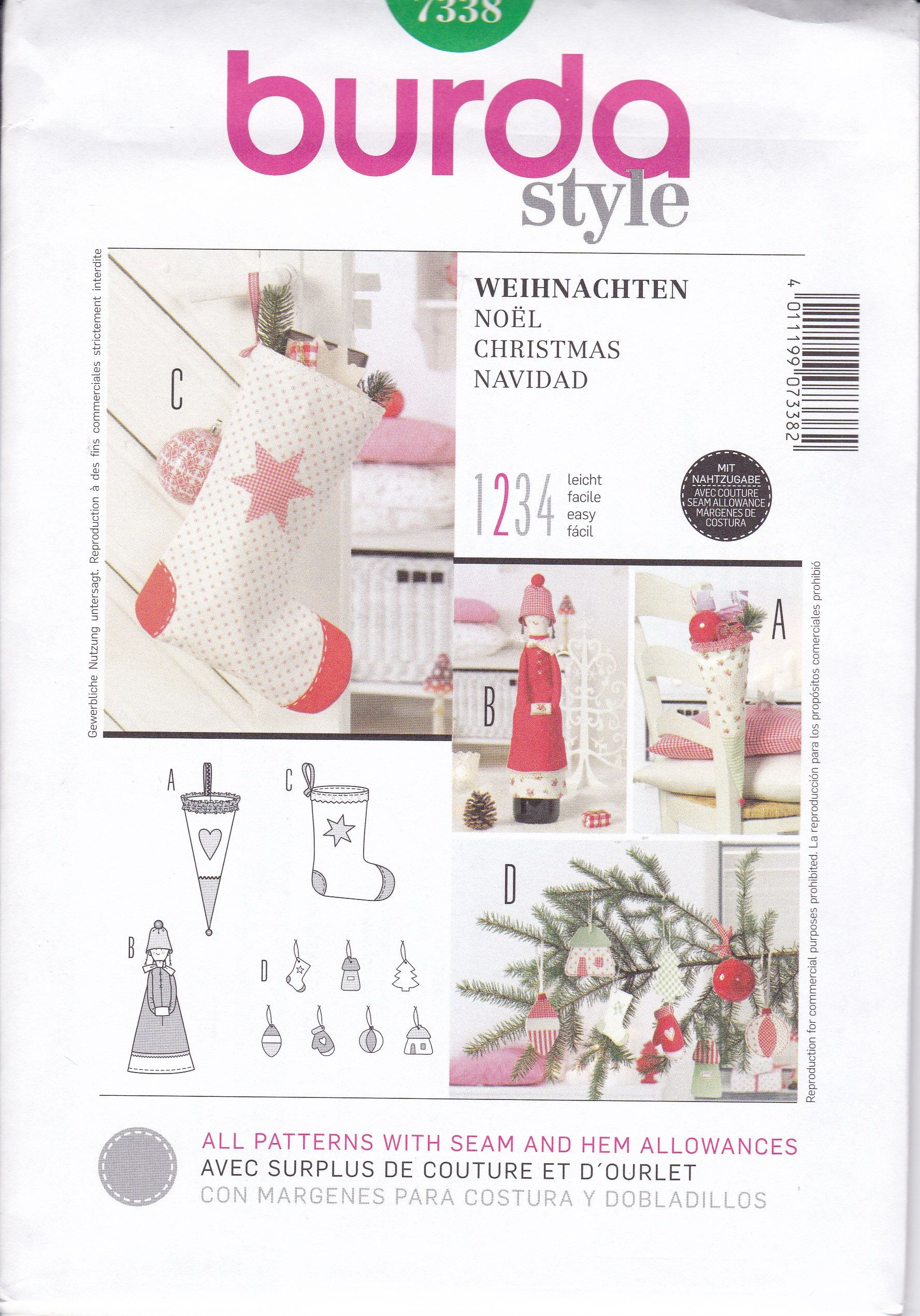 Free us ship burda 7338 craft sewing pattern christmas stocking free us ship burda 7338 craft sewing pattern christmas stocking ornaments doll cone uncut new by jeuxipadfo Gallery