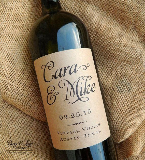 Personalized Wedding Wine Labels By Paperandlaceaustin On Etsy