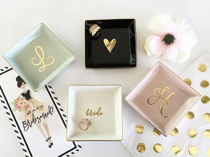 Script Colored Ring Dish Gifts For The Bride