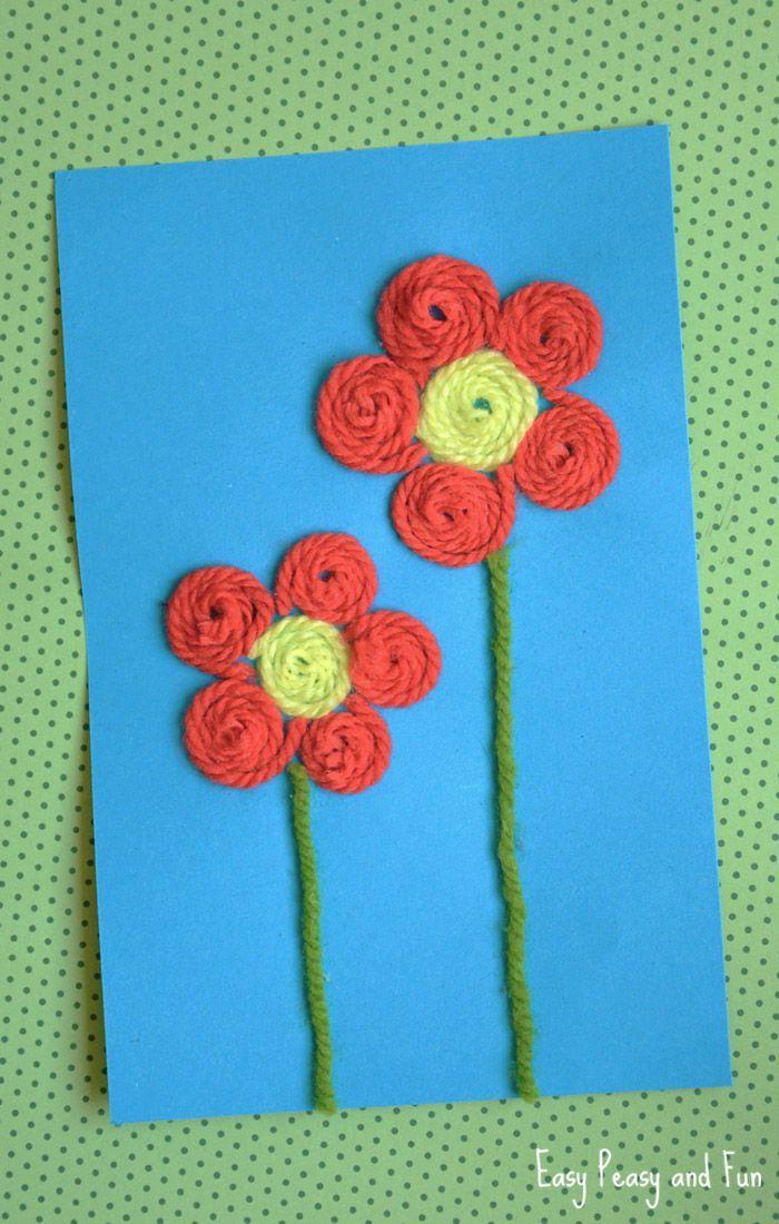 Yarn Flower Craft Kids Activities Pinterest Flower Crafts
