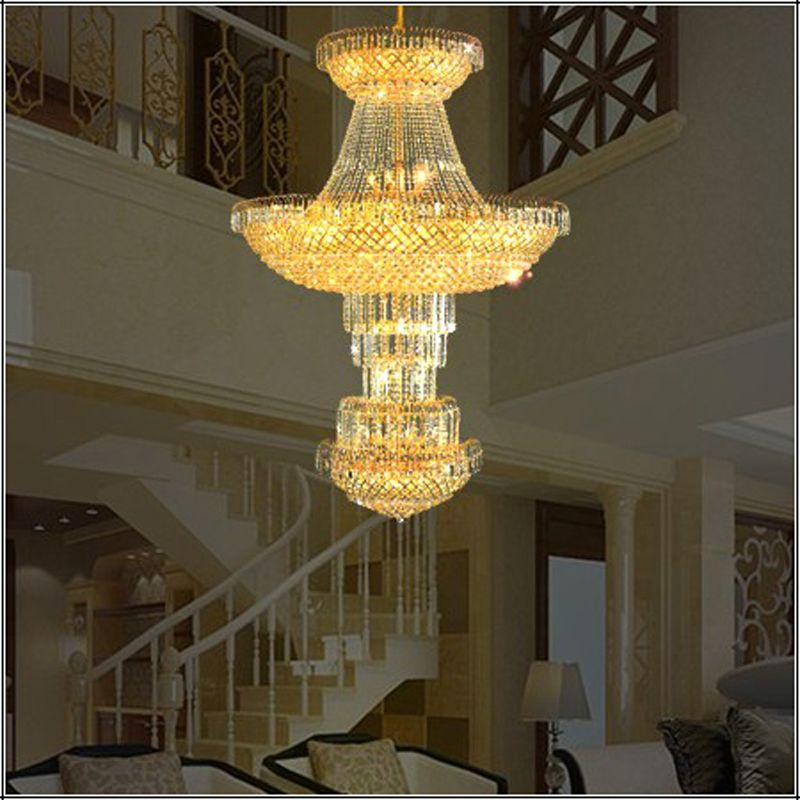 Modern luxury europe large gold luster crystal chandelier light cheap lamp workshop buy quality lamp leather directly from china lamp motorcycle suppliers hotel lobby crystal chandelier modern high ceiling led lamp mozeypictures Gallery