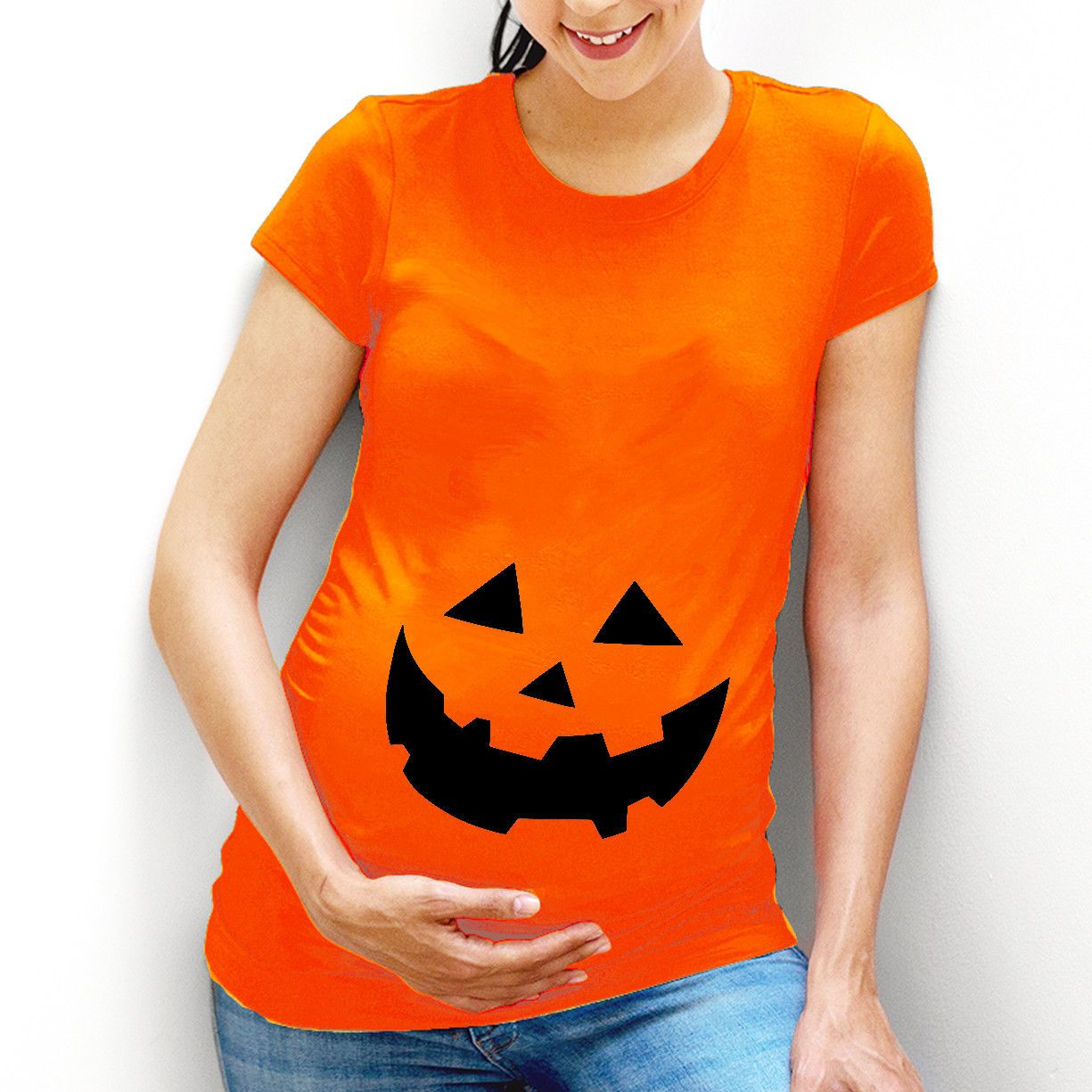 Funny Pumpkin Face Maternity TShirt Top Costume Idea