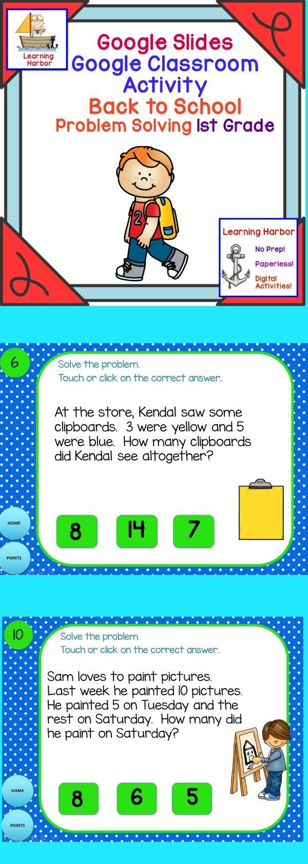 Math Problem Solving 1st Grade for Google Classroom™ Activity