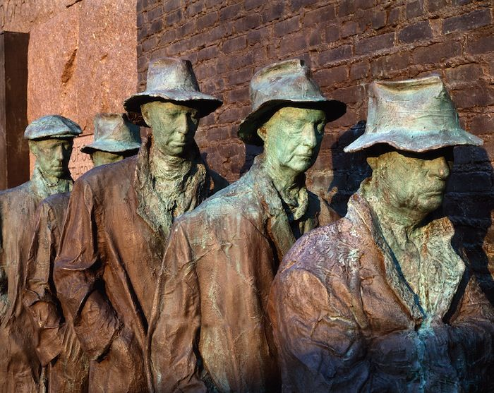 George Segal, Depression Breadline (detail), 1991, bronze. VIA WIKIMEDIA COMMONS