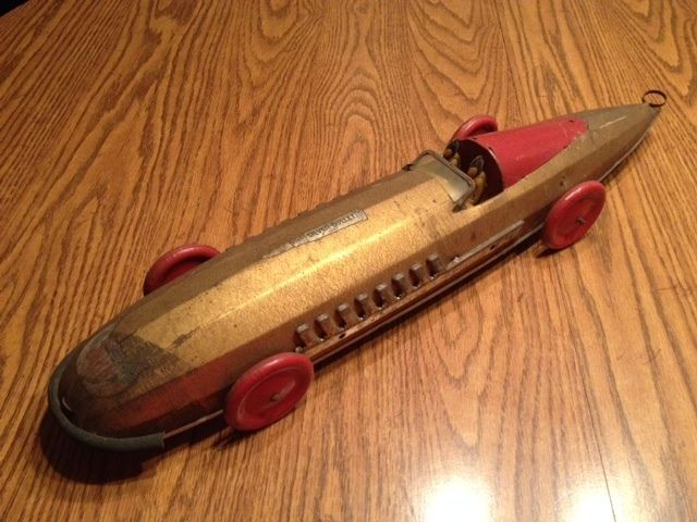 Gold Tin Buffalo Toys Silver Bullet Race Car Wind Up Toy   Let\'s ...