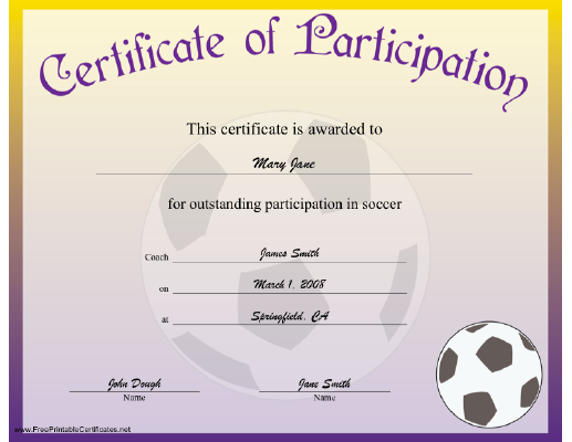 Free Soccer Participation Certificate Party In The House Soccer