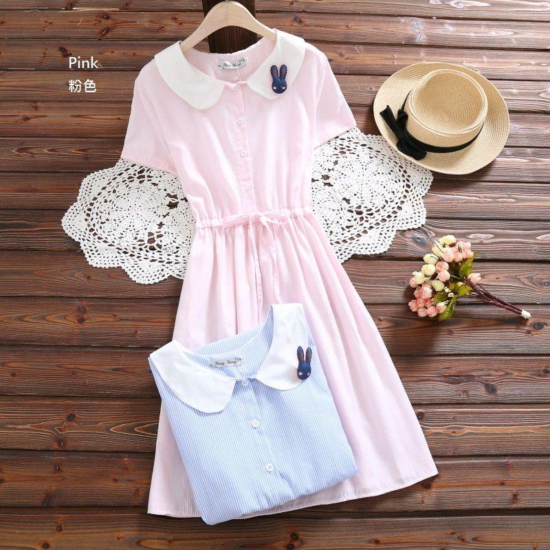 3688adfa7c011 Buy Kawaii Fairyland Rabbit Accent Striped Collared Short Sleeve Dress