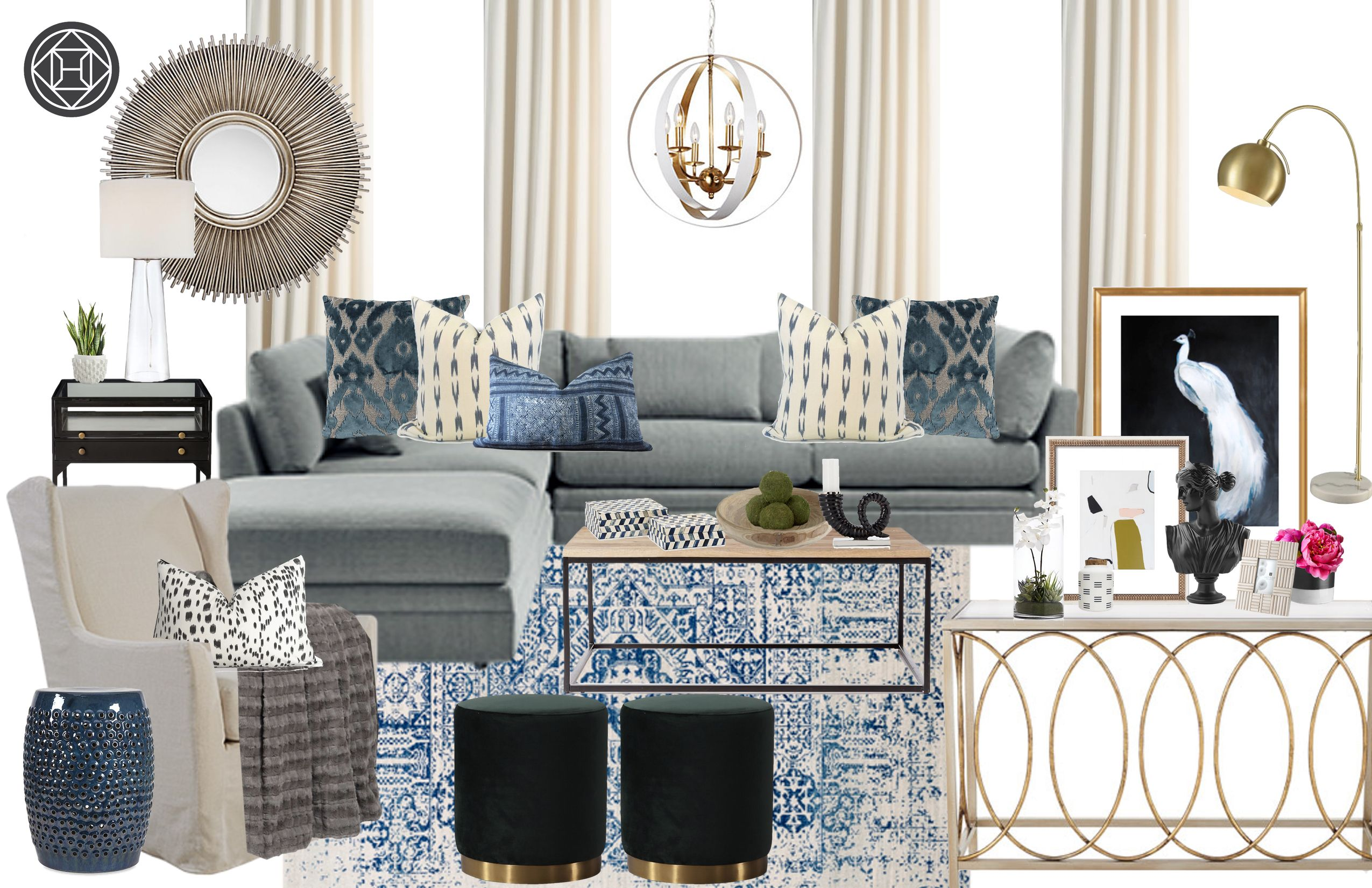 Contemporary, Eclectic Living Room Design by Havenly ...