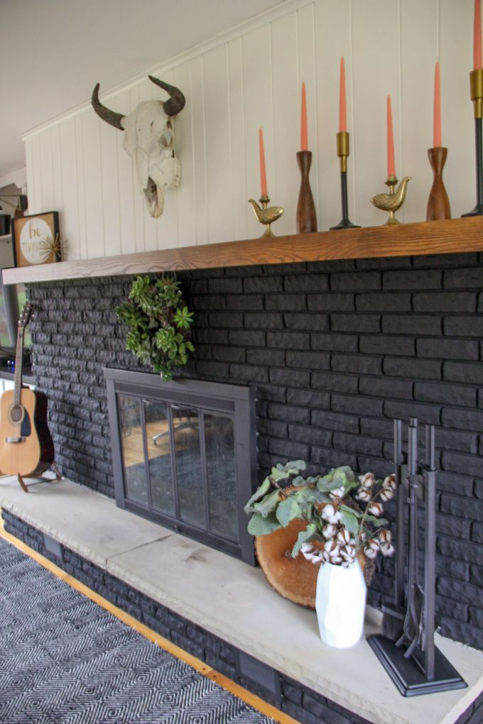 Our Black Painted Fireplace Paint Fireplace Fireplace Remodel Brick Fireplace Remodel