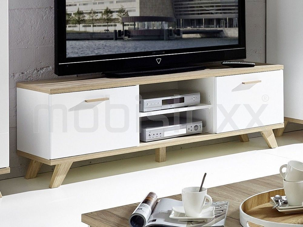 Meuble tv-hifi COSMOS 2 portes 2 niches blanc/sanremo chez Mobistoxx - Meuble Tv Avec Rangement