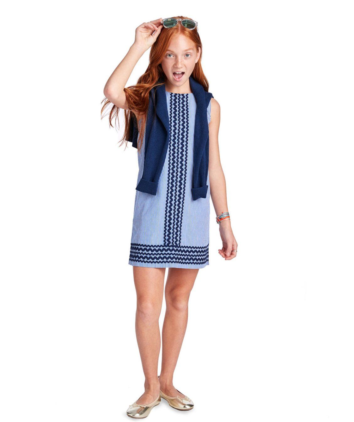5a30ac71f Girls Ric Rac Stripe Vineyard Shift Dress
