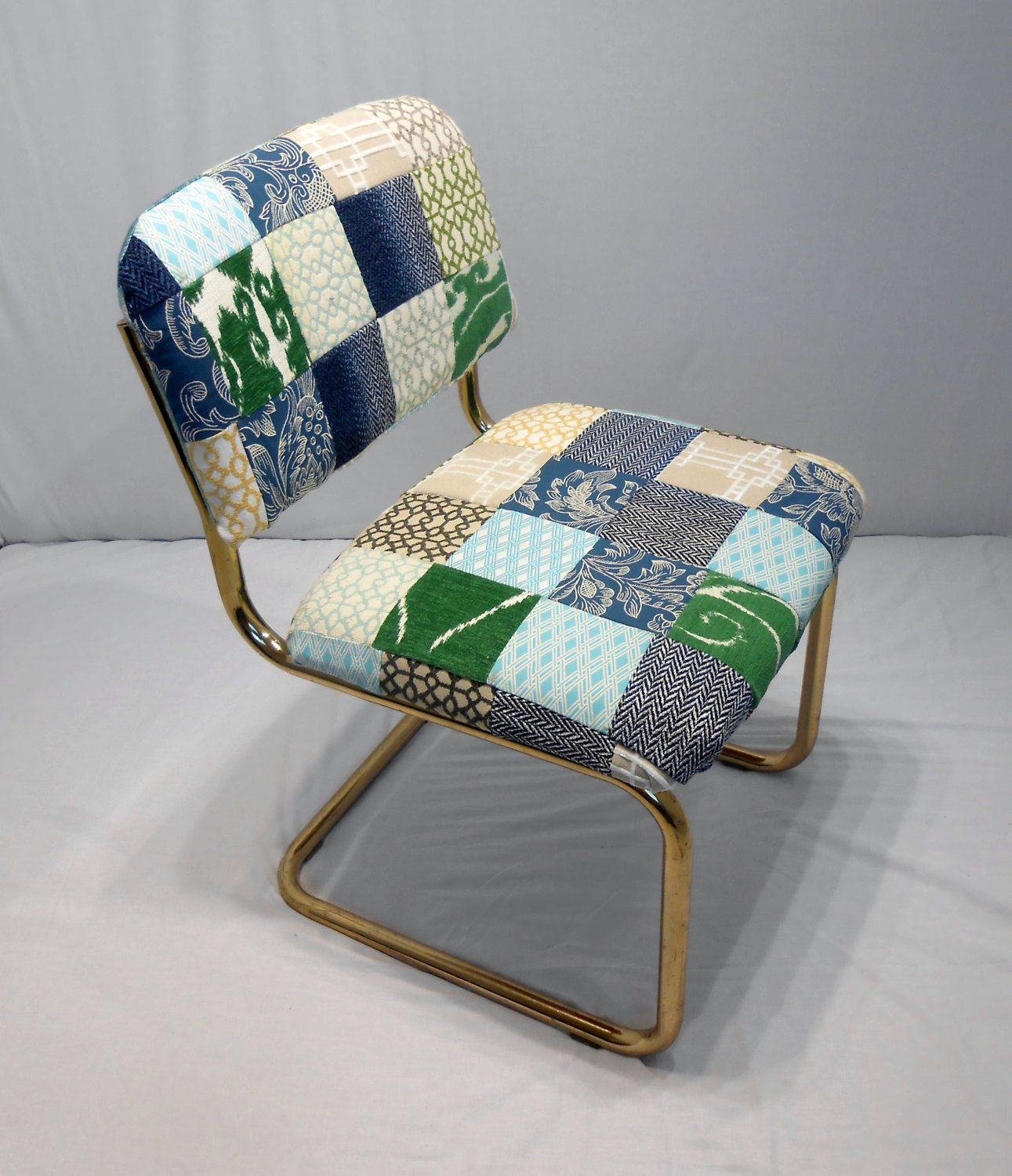 4141 Vintage 1980s Chair Brass Tubular Design Cantilever MCM Danish Modern New Patchwork Upholstery(Etsy のkissmyattvintageより) https://www.etsy.com/jp/listing/273541804/4141-vintage-1980s-chair-brass-tubular