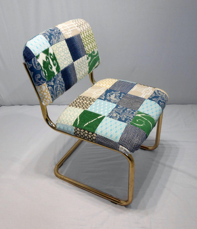 4141 Vintage 1980s Chair Brass Tubular Design Cantilever MCM Danish Modern New Patchwork Upholstery(Etsy のkissmyattvintageより) https://www.etsy.com/jp/listing/273541804/4141-vintage-1980s-chair-brass-tubular