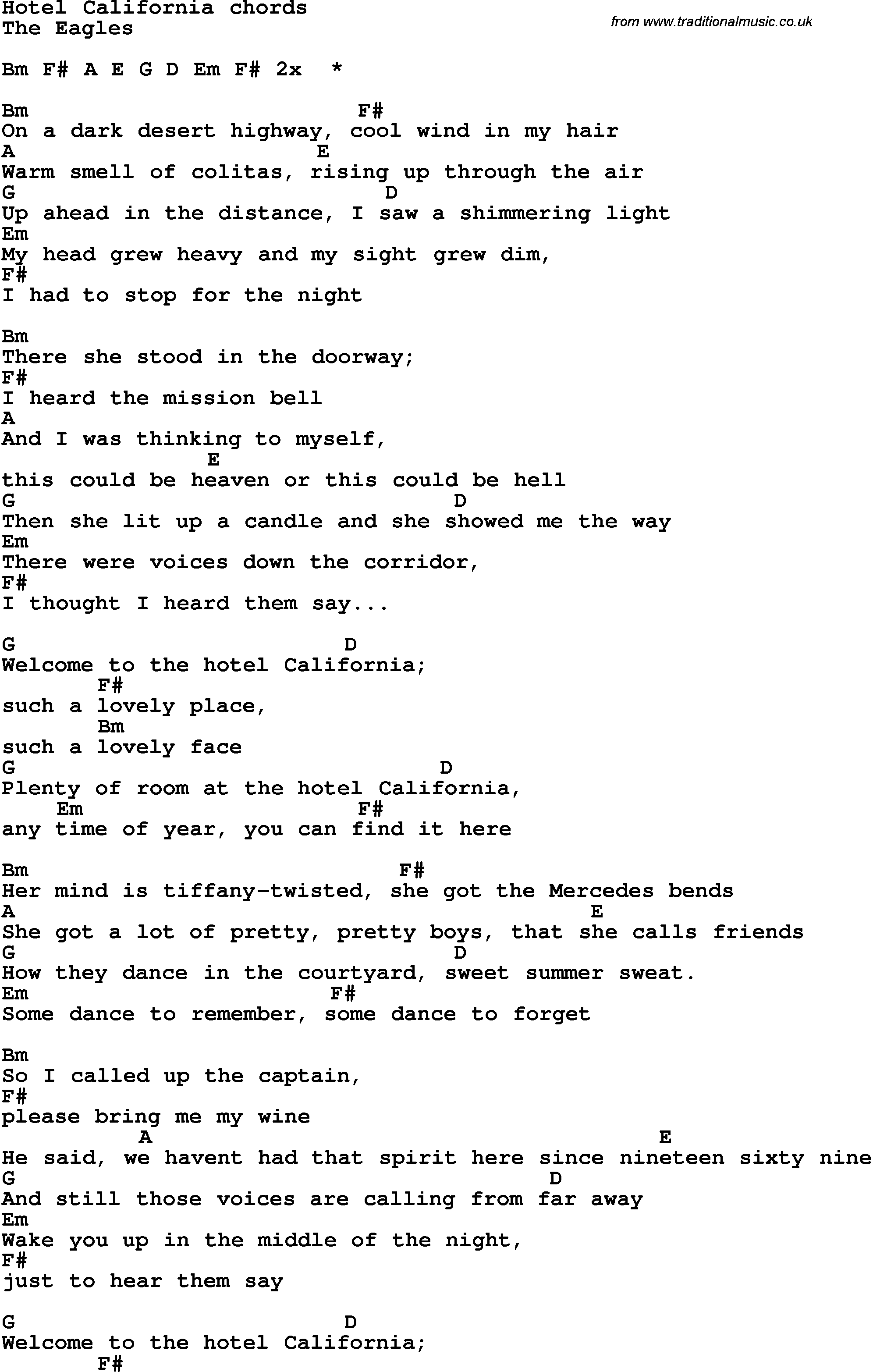 Song Lyrics With Guitar Chords For Hotel California Learn Guitar