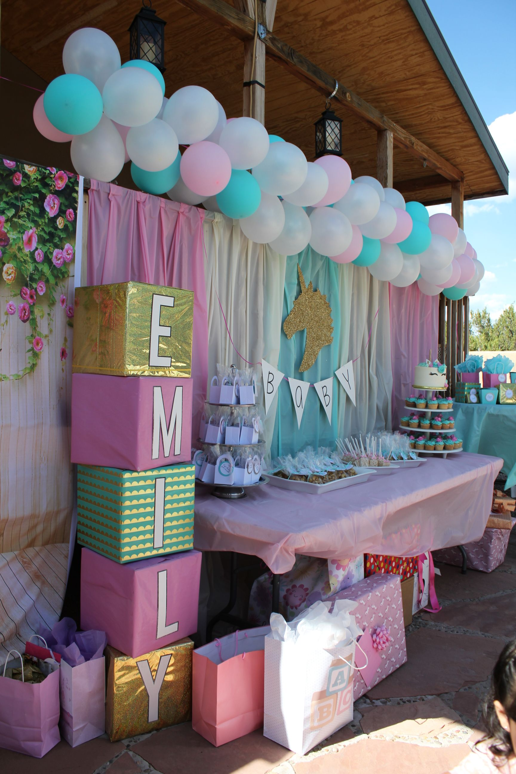 Unicorn Baby Shower Backdrop with baby's name on blocks