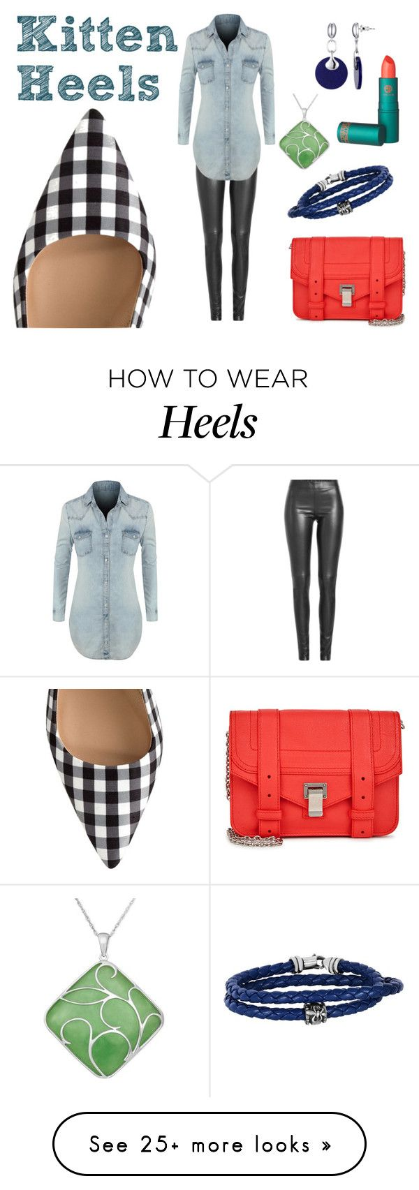 """gingham and kitten heels"" by north40designs on Polyvore featuring Joseph, LE3NO, Proenza Schouler, Lipstick Queen, Phillip Gavriel, gingham, kittenheels, springtrend and coralpower"