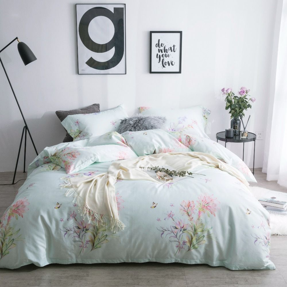 Floral Printed Bedding Luxury Bed Linen Luxury Egyptian Cotton Bedding Queen Size Bed Spreads Satin Bedding Plant Bedding Set Duvetcover Home Decor Homedec