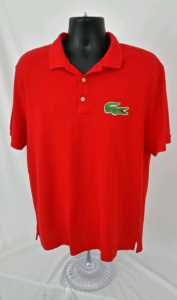 faa5e508 Mens Lacoste Polo Shirt Size 7 EUC Red Big Gator Short Sleeve Cotton  Pre-owned #Lacoste #PoloRugby