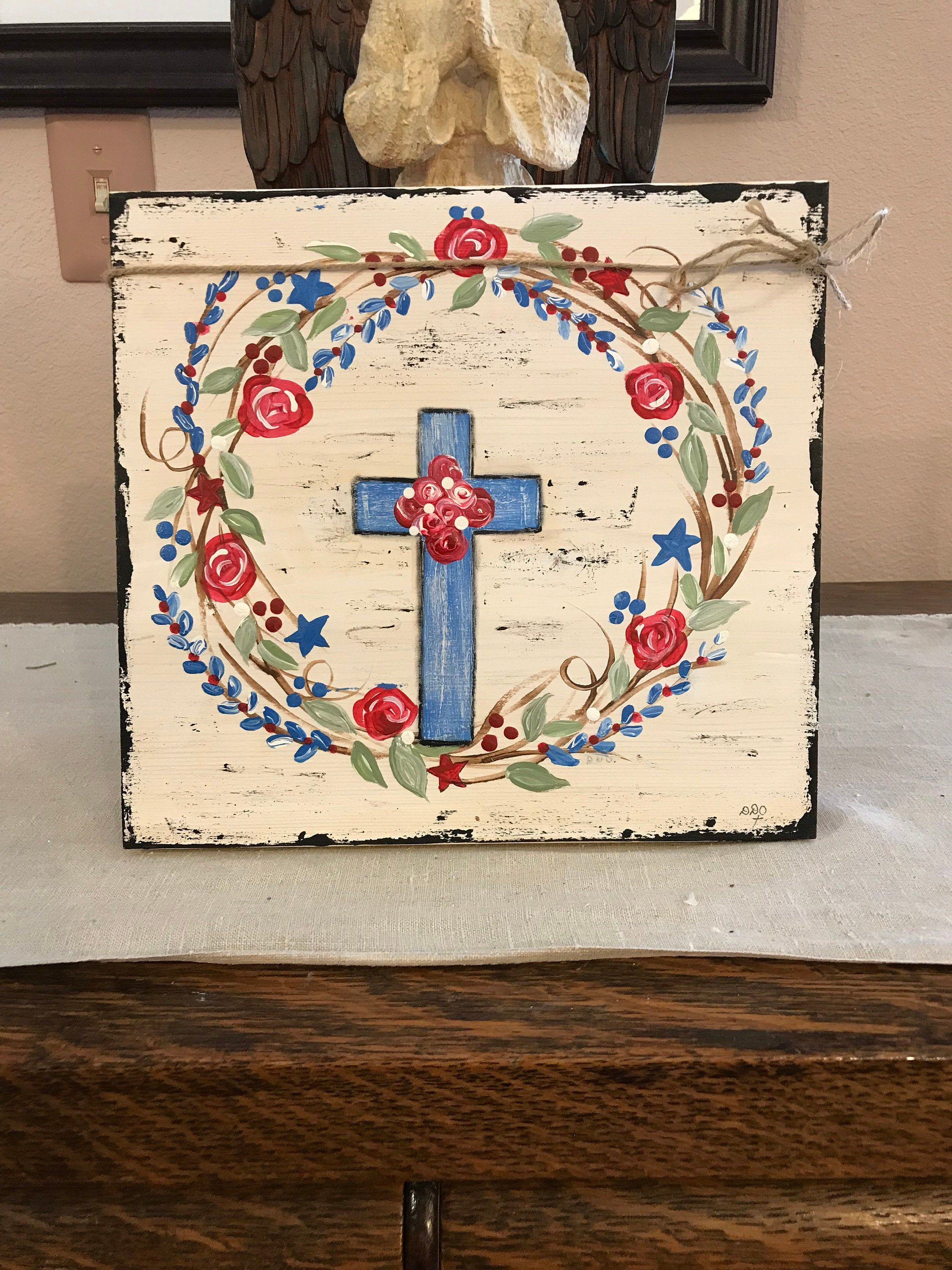 Photo of Red white and blue wreath, Handpainted floral wreath using patriotic colors.  Standalone wood art block, distressed farmhouse wreath,