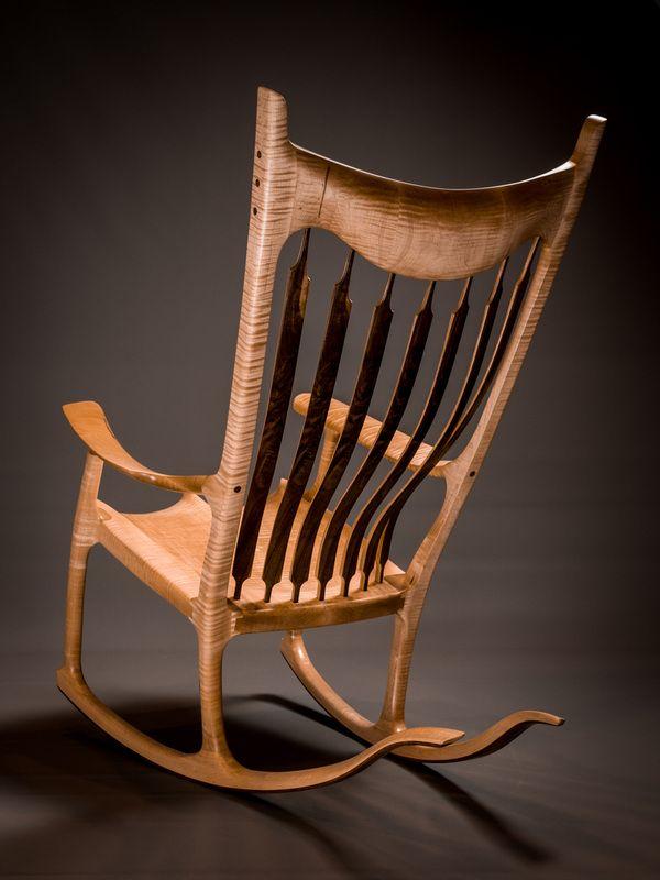 Tiger Maple Handshake Rocking Chair Rocking Chair Diy Rocking