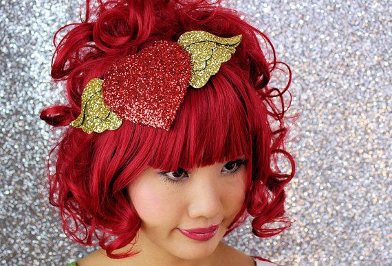 Winged Heart Fascinator Red and gold burlesque by JanineBasil, £78.00