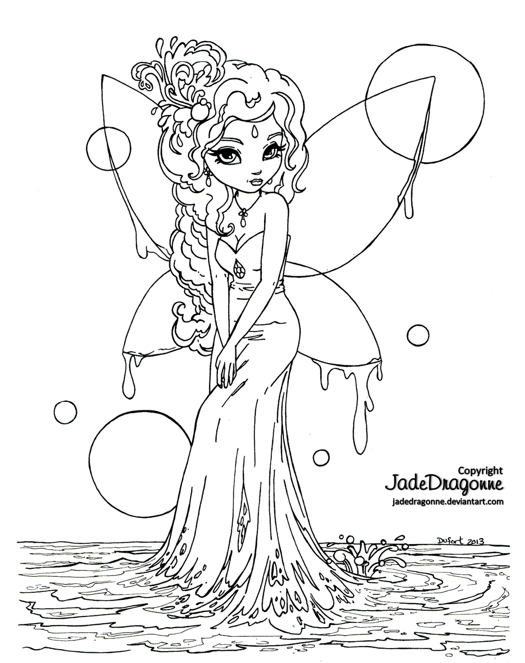 Water Fairy Lineart by JadeDragonne on deviantART color me