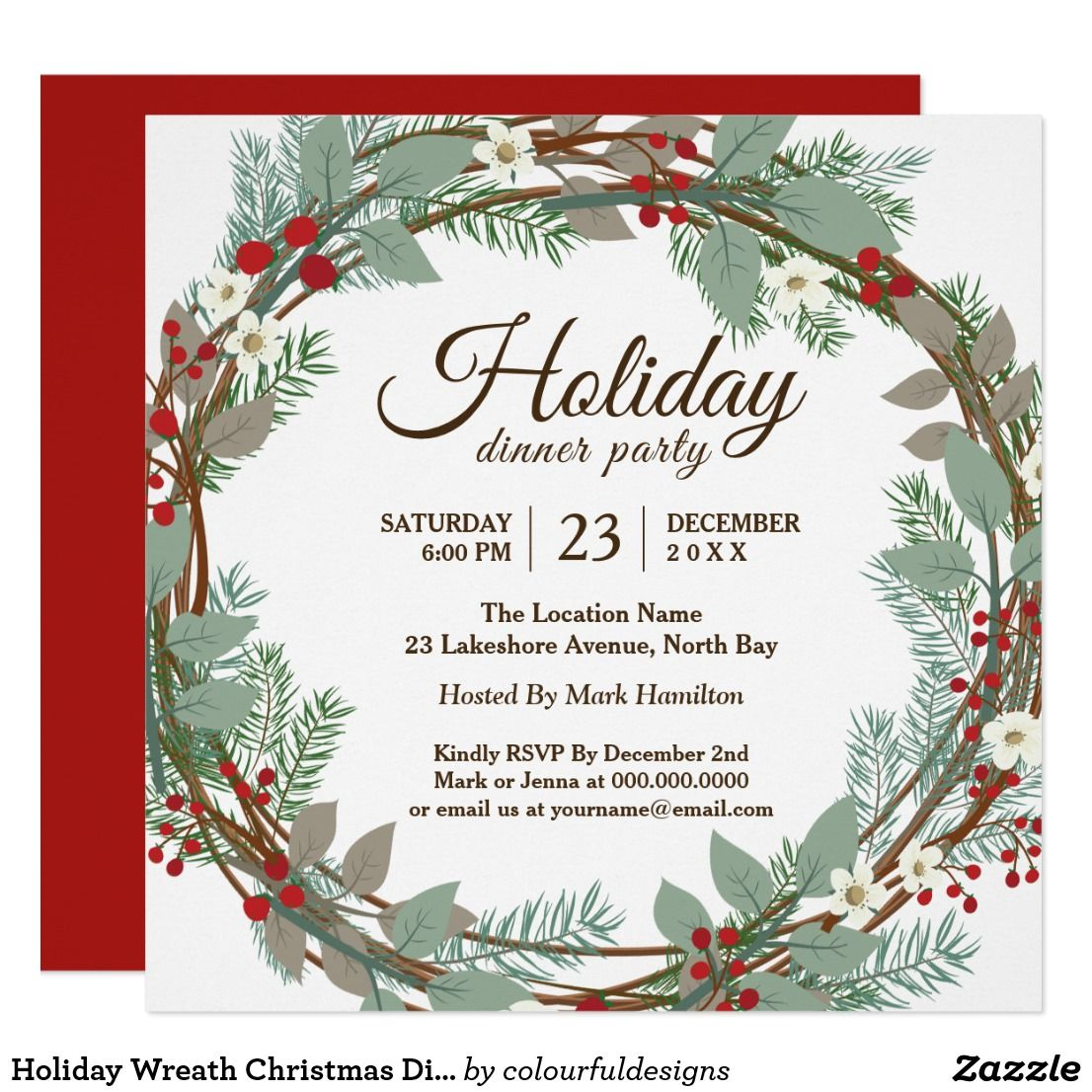 Holiday Wreath Christmas Dinner Party Invitation | Dinner party ...