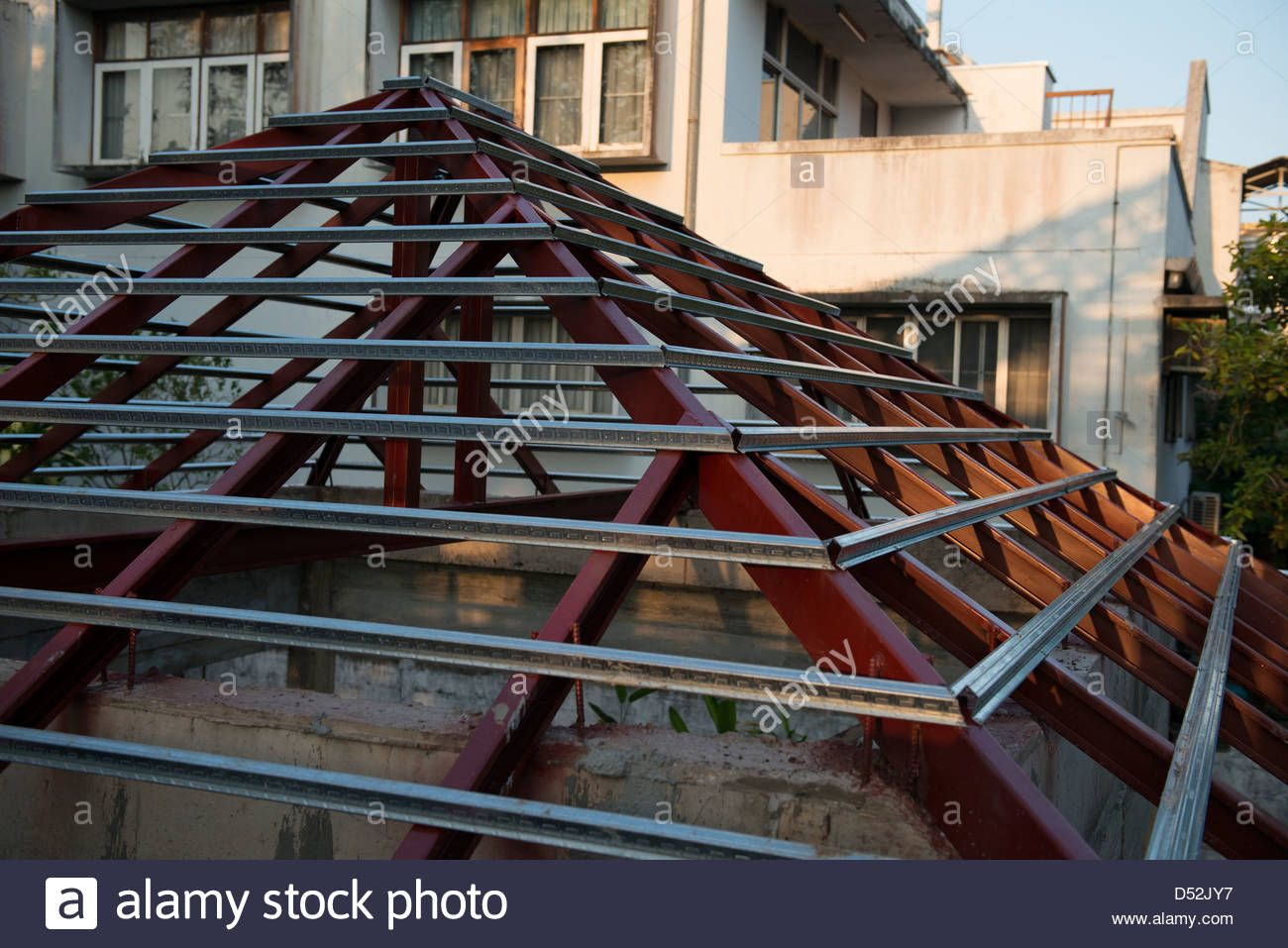 Thai House Rafter Construction With Steel Beam Normally Used