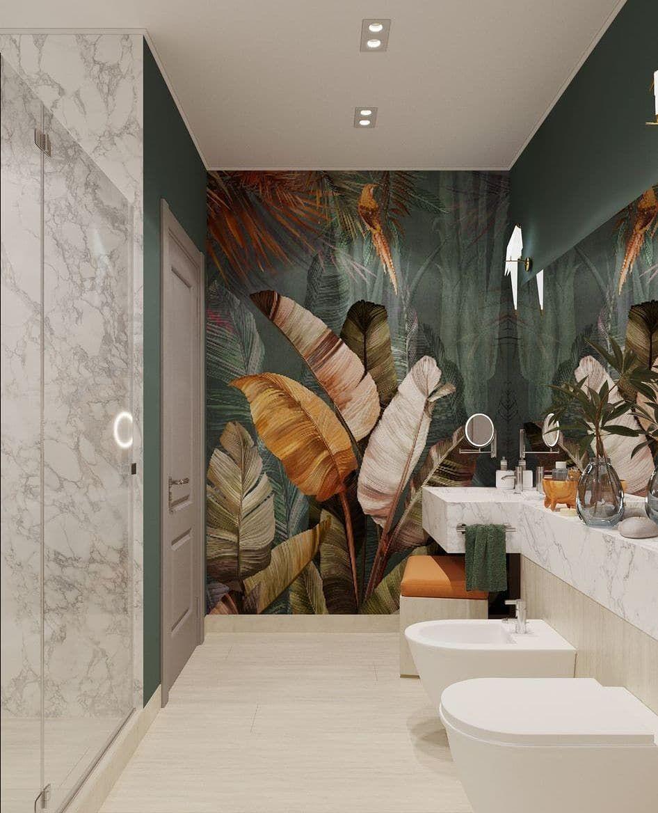 30+ Idee papier peint salle de bain ideas in 2021