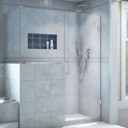 Unidoor Plus 47 X 72 Hinged Frameless Shower Enclosure With Clear Max Technology Corner Shower Enclosures Frameless Shower Enclosures Shower Doors