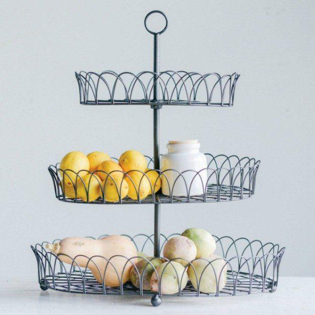 3 Tier Round Metal Basket Display Stand | Metal baskets, Display and ...