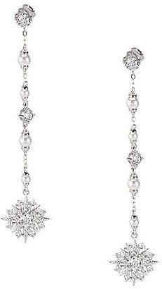 Nadri Venus FauxPearl Linear Drop Earrings bride wedding jewelry