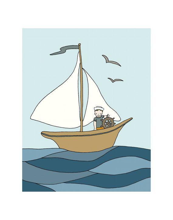 Nursery Art -- Sailboat Art Print -- Sail Along The Lake, Children's Art Print, Kids Wall Art, Under the Sea Nursery, Nautical Nursery