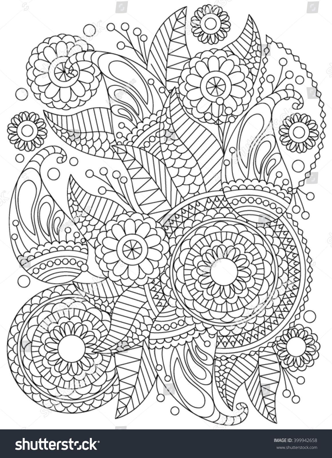 Hand Drawn Henna Abstract Mandala Flowers And Paisley Doodle