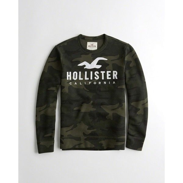 fda212fb Hollister Logo Graphic Crewneck Sweatshirt ($29) ❤ liked on Polyvore  featuring men's fashion,