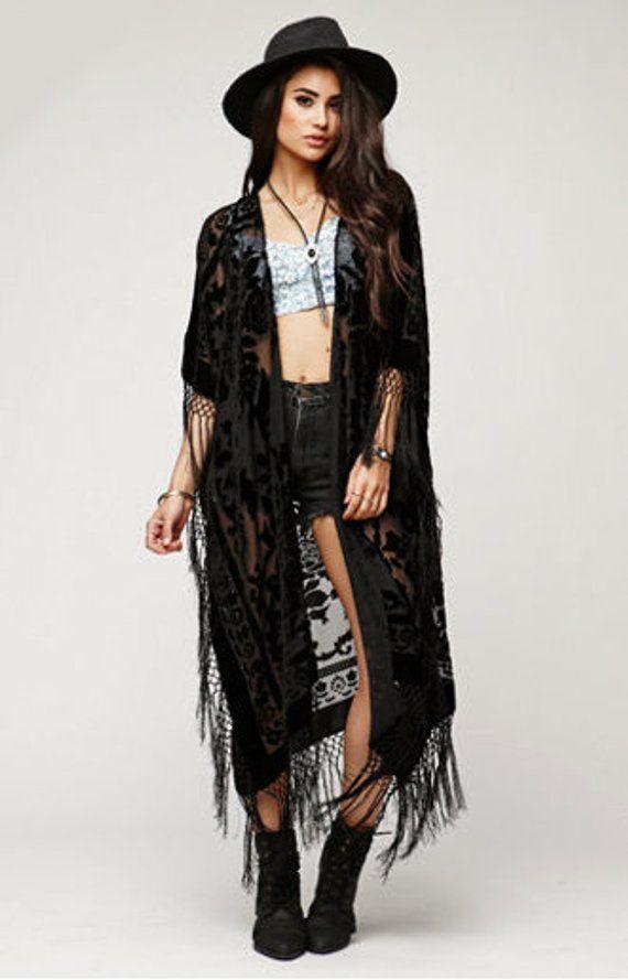 efa15ebee SALE 20% OFF // Floral Brocade Velvet Burnout Gypsy Fringe Kimono ...