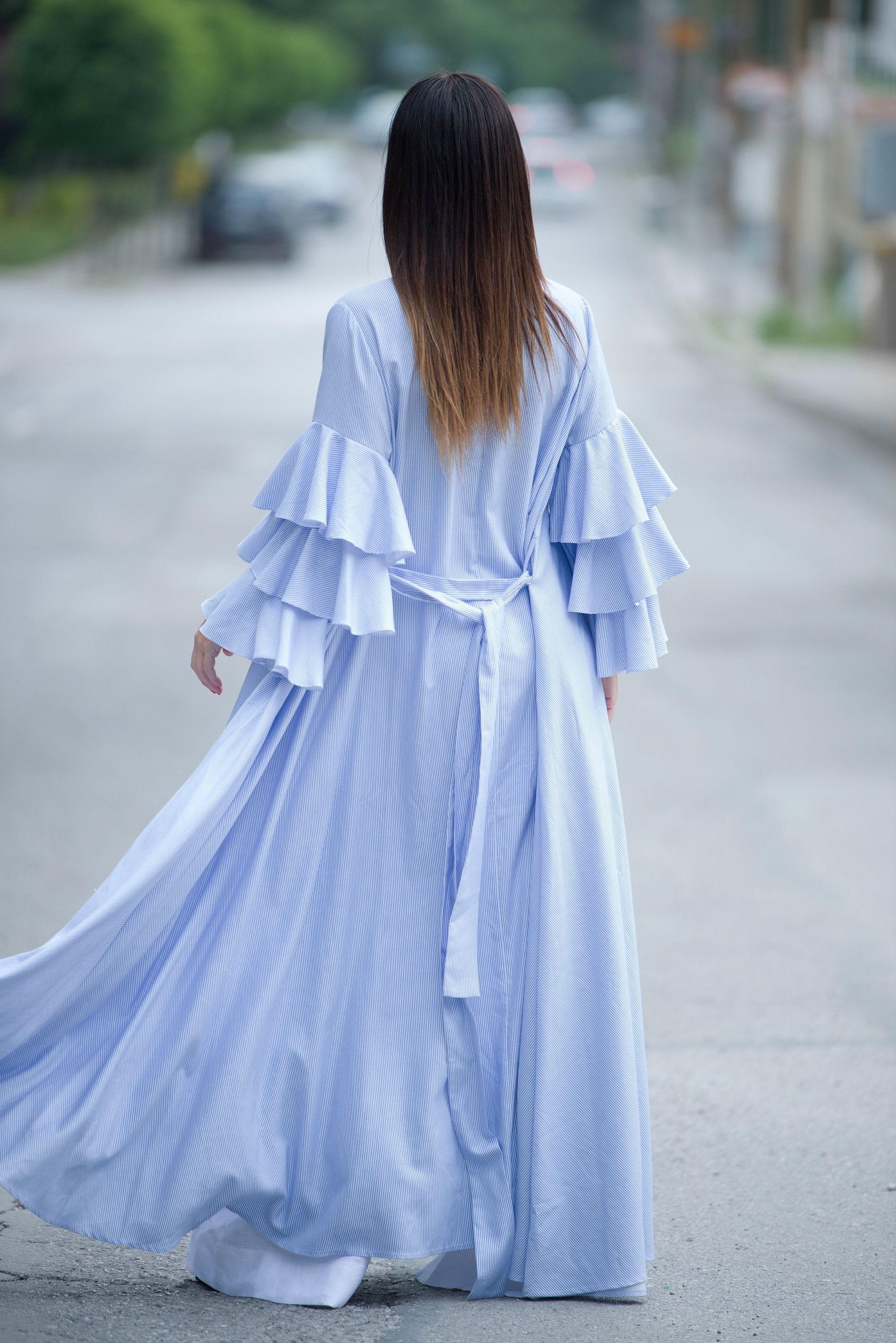 White blue stripe womens flounces kaftan cotton abaya dress long