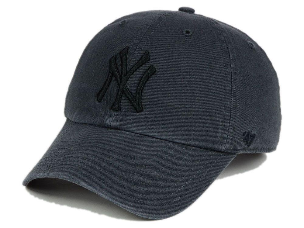 cdeee61284e45 New York Yankees  47 MLB Charcoal Black  47 CLEAN UP Cap
