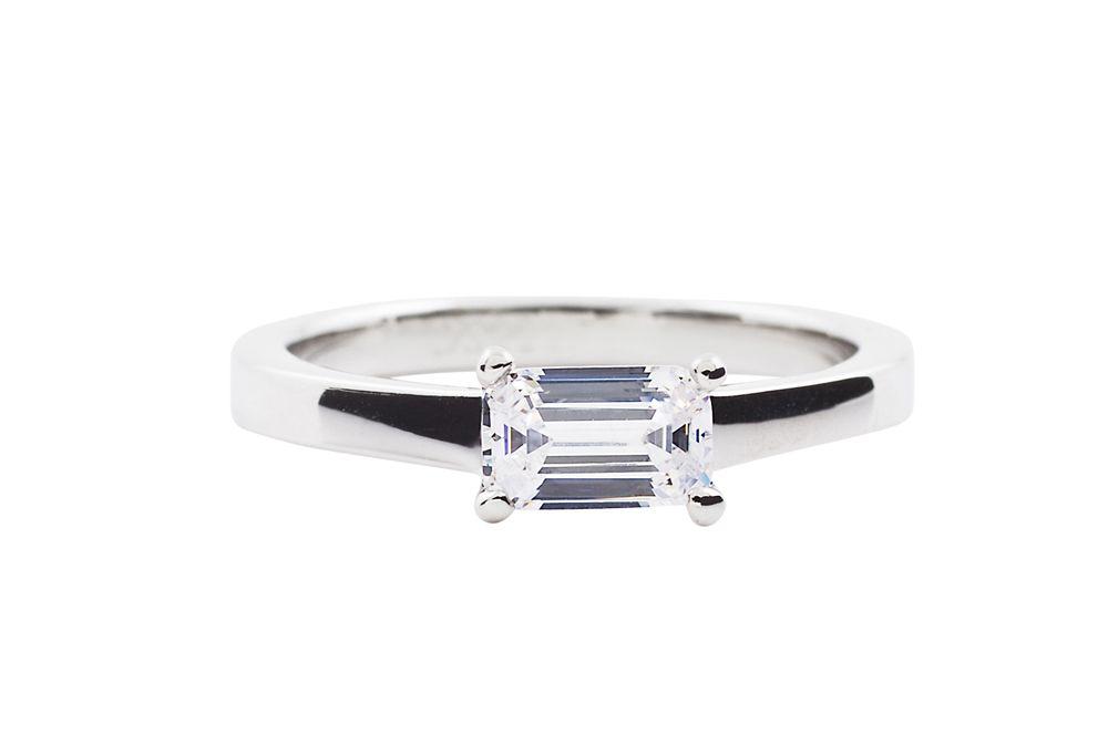 Emerald Cut Horizontal Solitaire Diamond Engagement Ring Gold Platinum Band
