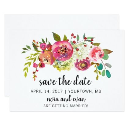 Save the Date Spring Summer Floral Watercolor Card Watercolor